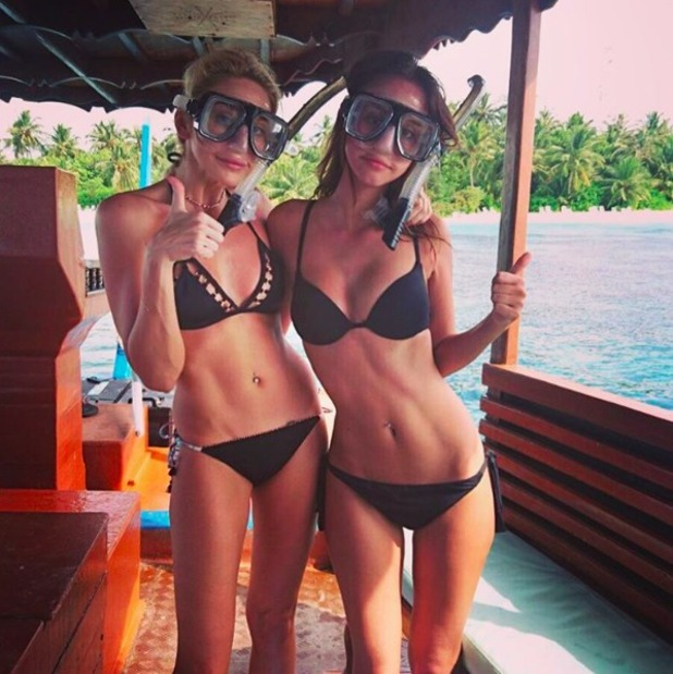 Lucy Watson and Stephanie Pratt on holiday in the Maldives, December 2015.